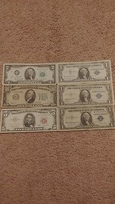 20 dollars in old paper money 1934 10 dollar note 5 dollar red note!!
