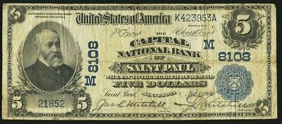 Lucy's Saint Paul, MN - $5 1902 Date Back Fr. 591 The Capital NB Ch. # (M)8108