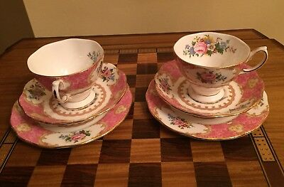 Vintage 2 Royal Albert Bone China Lady Carlyle Tea Cup Saucer & Side Plate TRIOS