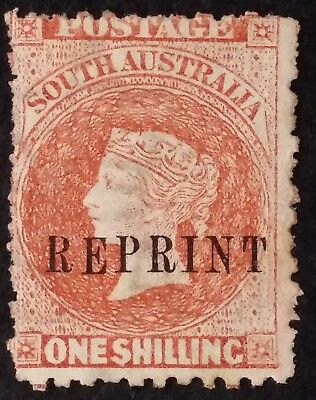 1884- South Australia 1/- Red Brown Sideface Stamp Mint NO GUM REPRINT