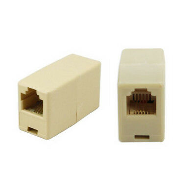 2Pcs Plastic Phone Coupler RJ11 Telephone Phone Cable Line Adapter Connector