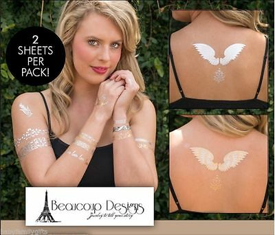 Beaucoup Designs Holiday Sparkle Removable Tattoo Body Art Jewelry Gold / Silver