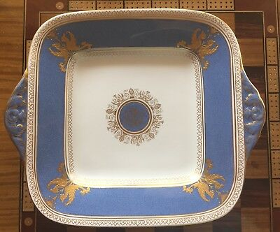 WEDGWOOD SQUARE CAKE PLATE PLATTER SERVER Columbia Blue And Gold