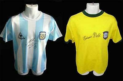 Pele & Diego Maradona SIGNED / AUTOGRAPHED WC Shirts, Jerseys  - PHOTO PROOF