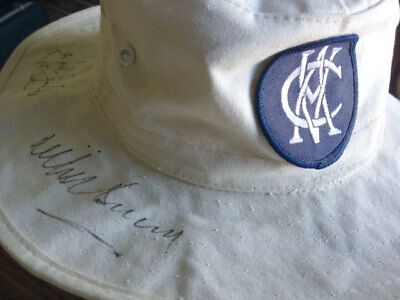 Cricket Hat SIGNED by Benaud Hamence Taylor Jarman Chappell_Captains_Invincibles