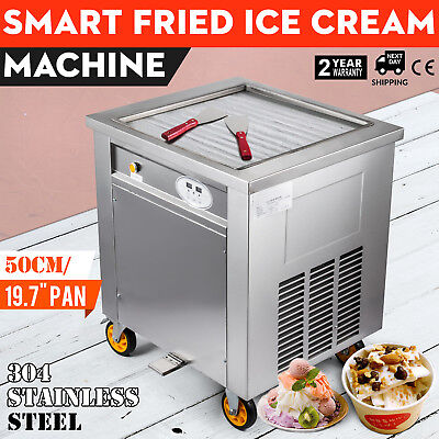 "Smart Fried Ice Cream Machine 304 Stainless Steel 1800w 50cm 19.7"" Square Pan"