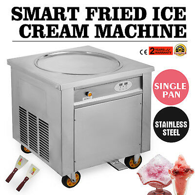 Smart Single Pan Fried Ice Cream Machine 1000w Stainless Temperature Control