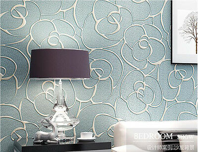 10m Modern Luxury Damask Embossed Flocking Roll Wallpaper Bedroom Home Decor