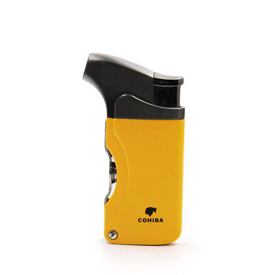 COHIBA  Yellow Fashion Metal 1 Torch JET FLAME CIGAR LIGHTER With 2 Pumch Cigare