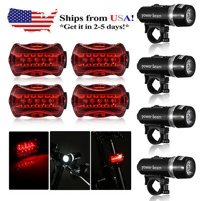 4x Bike Bicycle Waterproof  5 LED Front Lamp Head Light + Rear Safety Flashlight