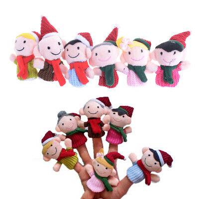 6Pcs Christmas Family Finger Puppets Cloth Doll Educational Hand Finger Toy Gift