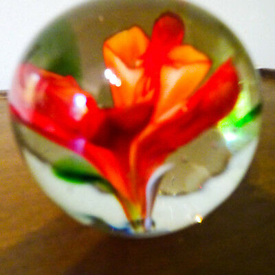 Glass Paperweight  with Orange Clivia Flower & Green Leaves 5cm