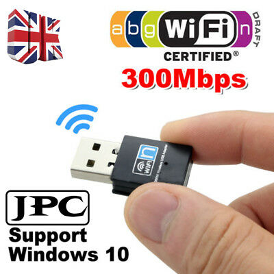 300Mbps USB Wireless N WiFi Lan Adapter Dongle High Signal 802.11n/g/b Win 10