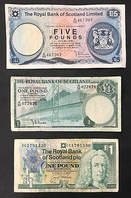 3 X Mixed Banknote Collection - Scotland - Europe. £5, £1, £1. (1404)