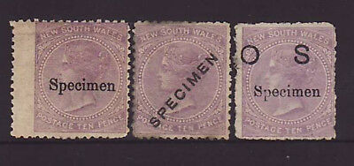 NSW 1862-1880 3 x 10d Lilac with SPECIMEN & OS overprints unused.
