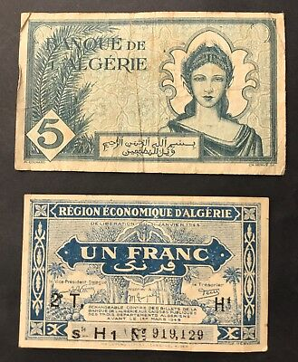 2 X 1940's  Banknotes - Algeria - French Colonial - 1 Franc + 5 Francs.  (1385)