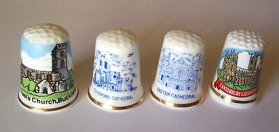 4 new CATHEDRAL - CHURCH THIMBLES from ENGLAND - Bone China (A)