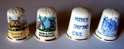 4 new CHINA THIMBLES from ENGLAND - Battle Abbey - Mother Shiptons Cave (D)