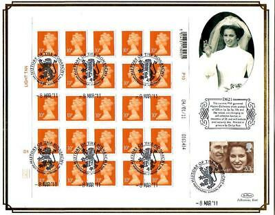 BENHAM D621 SHEET 25 x 10p NEW SECURITY STAMPS FDC 8-3-11 WESTMINSTER SHS F11