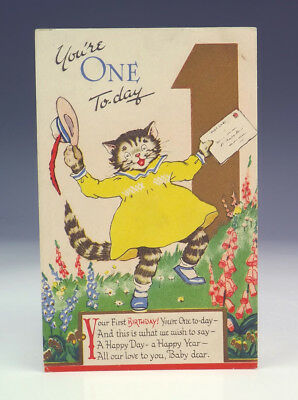 Vintage You're 1 Today - Comical Cat Postcard - Lovely!