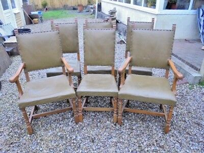 Set 6 Leather And Oak Dining Chairs 2 Carvers From House Clearance