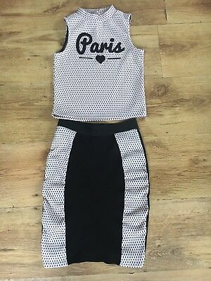 Girls River Island Paris Outfit Top And Skirt Age 7-8 Years