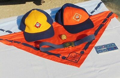 Large Lot of Tiger Cub and Cub Scout Accessories 2 Hats 2 Neckerchiefs Belt More