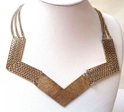 "Stunning Vintage Estate Gold Tone Triple Strand V Shape 22 3/4"" Necklace!! 6751D"