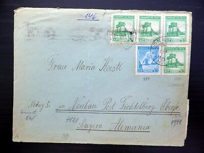CHILE WWII Censored Cover to Bavaria WAF AH496