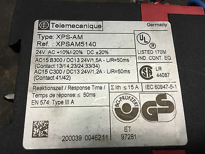 Telemecanique Xps-Am Xpsam5140 Safety Relay 24V Ac +10-20%