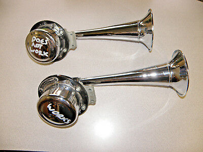 Pair Of Klaxon K-22 Horn Motor And Trumpet Set