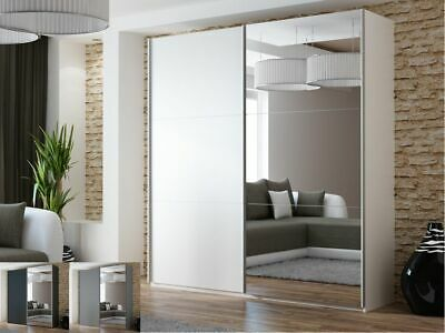Modern Mirror Sliding Door Wardrobe DAKO 11 Option LED Multiple colours and size