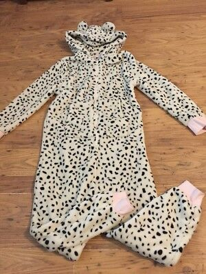 Girls Next White and Black Fleece Pj One Piece Age 10 Years In VGC
