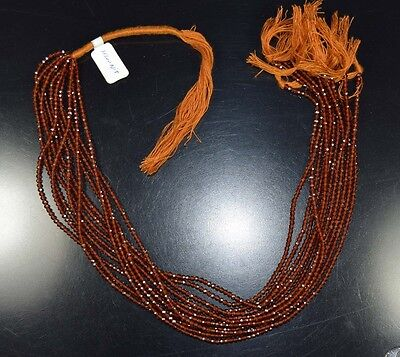 "2 Mm 13 "" 100%  Natural  A+  10 Line  Hessonite Garnet  Untreated Beads Strand"
