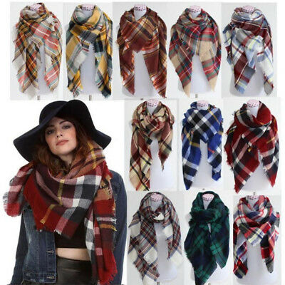 Women Blanket Oversized Tartan Warm Scarf Wrap Shawl Plaid Cozy Checked Pashmina