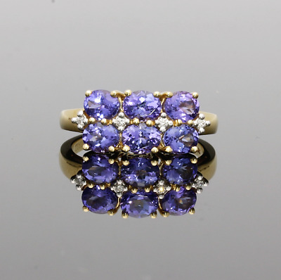 18Ct Yellow Gold Tanzanite & Diamond Three Row Ring