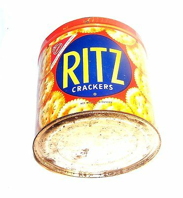 Vintage Ritz Crackers Spanish Mexican Tin Keywind Can Flat Top Advertising MkOfr