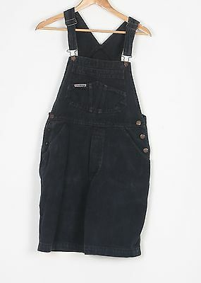 Denim Dungarees Shorts UK 10 Small Fitted    8 XS Oversized Black (74H)
