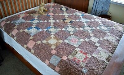 Antique 19th century Hand Stitched Calico Nine Patch Quilt