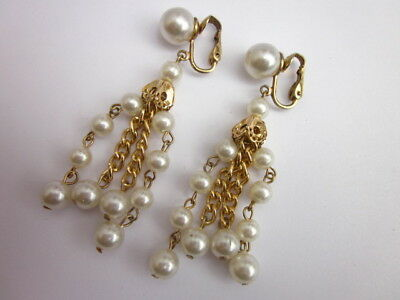 Pretty Vintage 1950's Pearly Dangle Clip Earrings