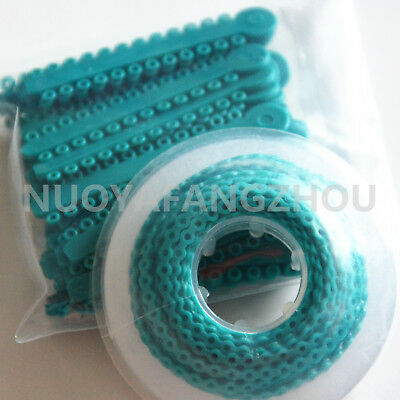 Dental Orthodontic Elastic Braces Rubber Ligature Ties Power Chain O-ring Teal