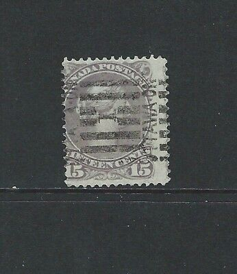 CANADA - #29 - 15c LARGE QUEEN VICTORIA WITH No 1 OTTAWA LINE CANCEL (1868)
