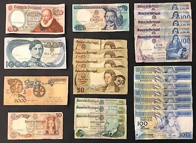 24 Mixed Banknote Collection - Portugal - Europe - Bulk Lot. (1409)