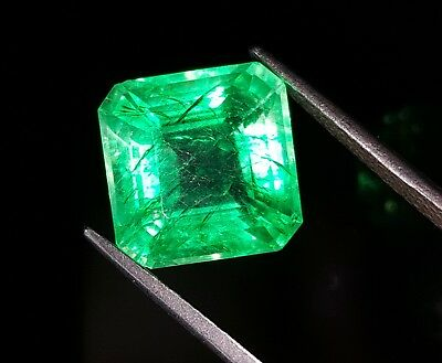 Awesome Square Shape 9.57 Ct Natural Certified Colombian Emerald