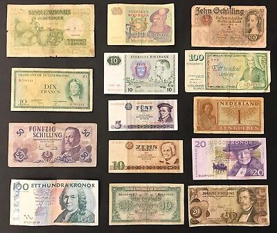 14 Mixed European Banknote Collection - Europe. (1413)