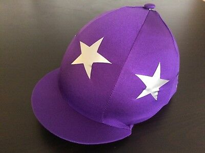 GGGear Cross Country Hat Silk, Purple with large silver stars