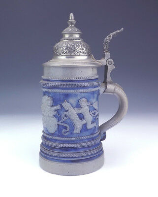 Antique Westerwald Rhineware Pottery - Putti Decorated Stein - Early!