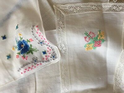 Lot Of 6 Vintage Handkerchiefs Embroidery, Lace