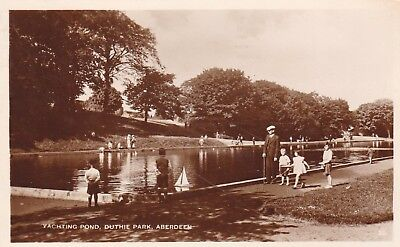 Postcard Yachting Pond Duthie Park Aberdeen Animated PU 1943 to Arbroath RP