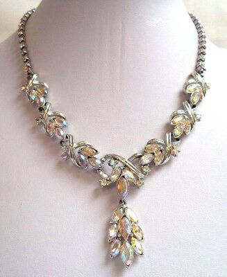 "Vintage Estate Signed Coro Pegasus Ab Rhinestone 17 1/4"" Necklace!!! 7882H"
